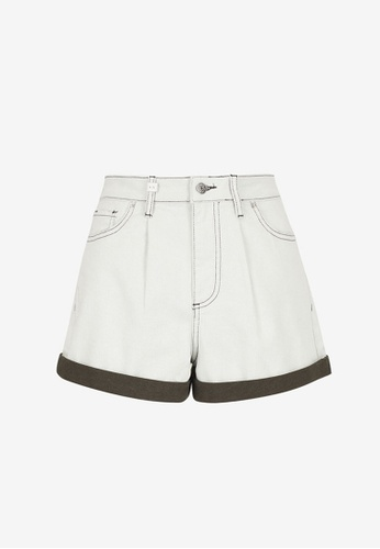 Armani Exchange green AX Armani Exchange Women Contrasting Hem Vintage-Wash Denim Shorts - Spring & Summer 2021 Collection CA988AA7FD0CA4GS_1