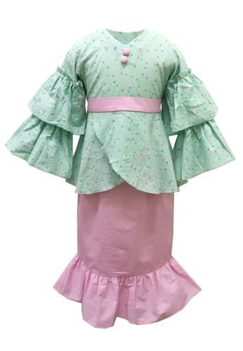 Lowela pink and green Baju Kurung Set D75F5KA7DD675DGS_1