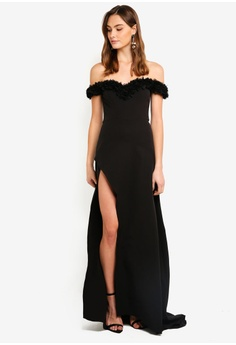 57956793604 Elle Zeitoune black Off Shoulder Gown With Ruffled Detail And High Split  4BFDFAAC7100C2GS 1