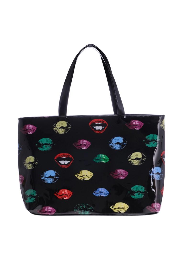 Large Hot Lips Beach Shiny PU Tote Bag