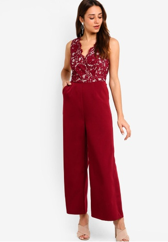 ZALORA red Lace Jumpsuit 4F2BFAA4BEFB92GS_1