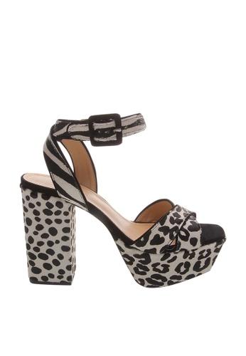SCHUTZ white Spotted Pattern Fake Calf Skin Platform Sandals - TATIANA [PEARL/BLACK] EC126SH0825A1BGS_1
