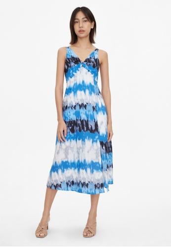 Pomelo blue Tie Dye V Neck Flare Dress - Blue 9082BAA4CDD344GS_1