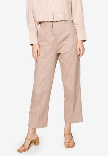 ZALIA BASICS beige Pintuck Tapered Trousers EFCA5AA547E871GS_1