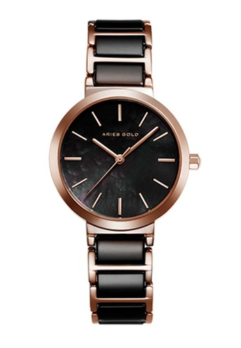 Aries Gold black Aries Gold Enchant Black and Rose Gold Watch 224EFACABBD6C0GS_1