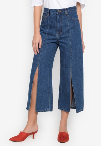 NEXT blue Wide Leg Jeans With Slit 76A4EAA4249009GS_1
