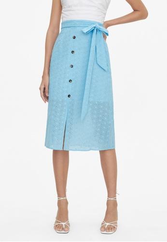 Pomelo blue Eyelet Center Slit Skirt - Blue 11A66AAF445682GS_1