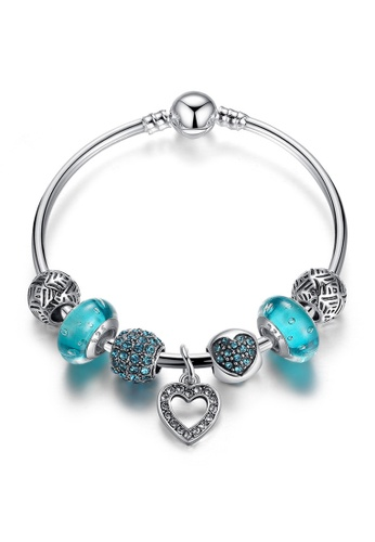 YOUNIQ blue YOUNIQ Silver Charm Bracelet with Romantic Vintage Heart Pendant for Her Gift PA3801 (Blue) YO999AC46LPHMY_1