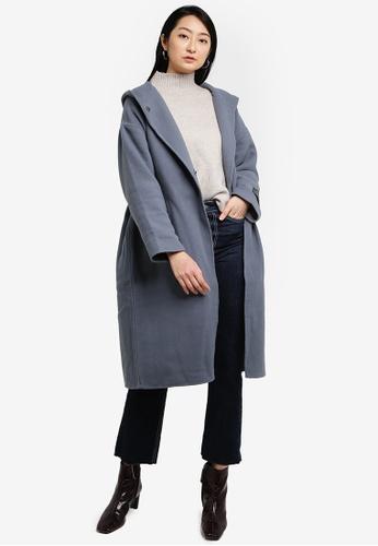 LOWRYS FARM blue Hooded Knit Coat F78BDAAB2DD592GS_1