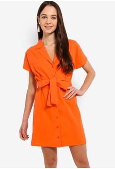 66bef96cac8 Something Borrowed orange Button Down Lapel Dress With Self Tie  9F7DFAA85B5C34GS 1