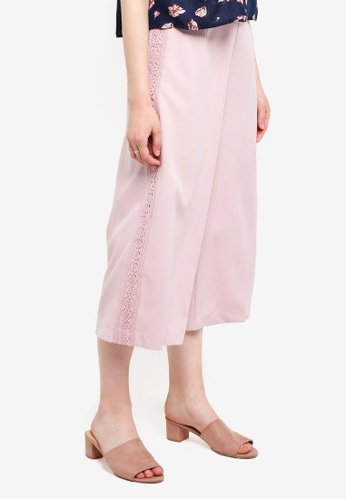 Something Borrowed pink Lace Trim Culottes 3B024AAF4373BCGS_1