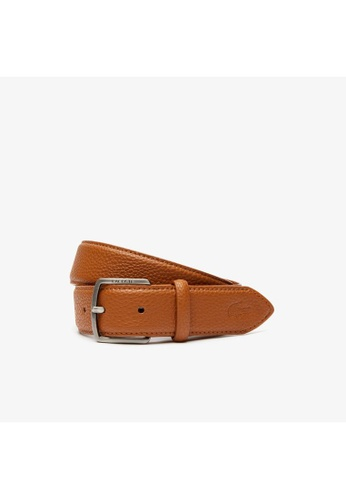 Lacoste red Lacoste Men's Lacoste Engraved Buckle Grained Effect Belt-RC4014 A0249AC4A336FFGS_1