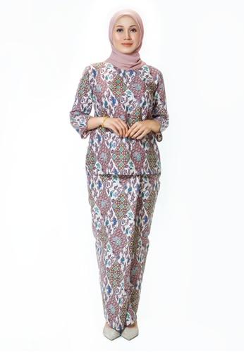 Buy House Of Olsha Batik Cotton Kurung Kedah Uda Plum Zalora Hk