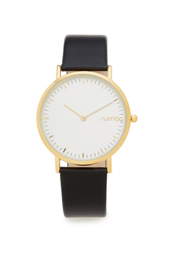 RumbaTime black and gold Rumbatime Soho Leather 36MM Watch Lights Out RU023AC68VDNHK_1