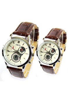 NARY Couple Leather Belt Watch - 6041