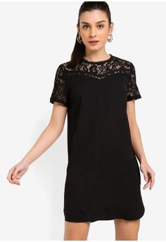 5f36429c4e ZALORA black Lace Panel Dress 11300AA059F322GS 1