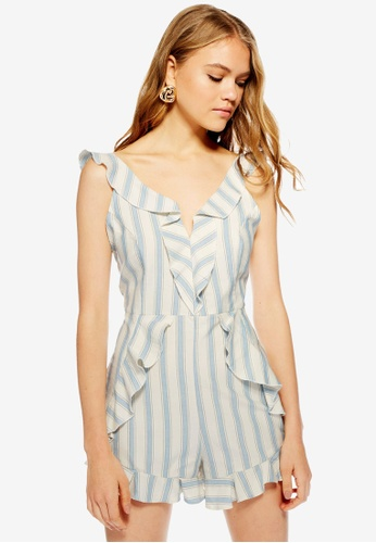 4ad8234219 Buy TOPSHOP Striped Ruffle Playsuit Online on ZALORA Singapore