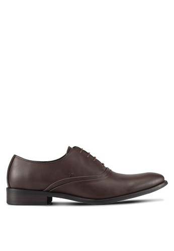 ZALORA brown Faux Leather Business Shoes 69257AAA24D6B6GS_1