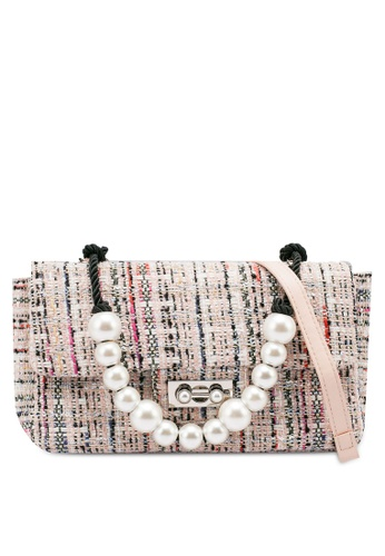 nose pink Tweed Shoulder Bag With Pearl Chain 062B9AC010D431GS_1