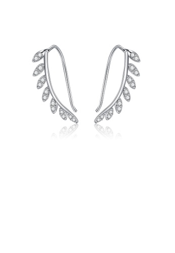 Glamorousky white 925 Sterling Silver Fashion Simple Leaf Earrings with Cubic Zirconia D4CB0AC8D9BF7AGS_1