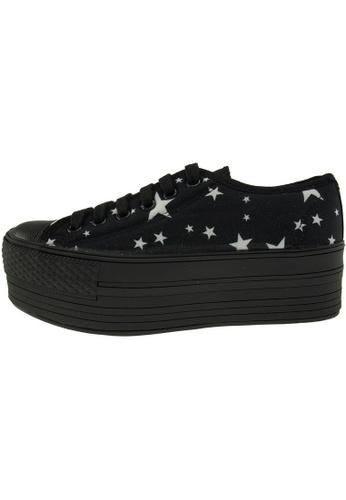 Maxstar 黑色 新款韩国鞋C50-6H-Star時尚帆布布混合女黑色 US Women Size MA345SH77GUCTW_1