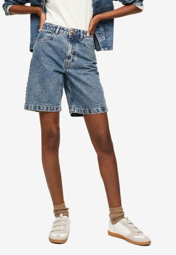 Mango blue Medium-Wash Denim Shorts EDD8FAA479257BGS_1
