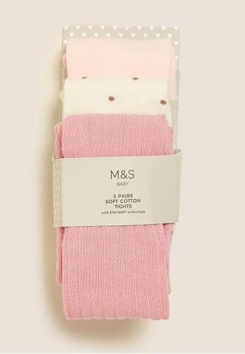 MARKS & SPENCER multi M&S 3pk Cotton Tonal Baby Tights 7B2A2KA1C36E90GS_1