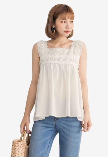Tokichoi white Lace Panel Top 2C1D5AAE90EE9EGS_1
