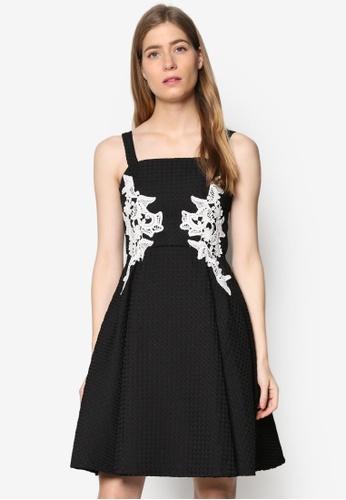 Megane black Blair Lace Patch Dress ME617AA88JTRMY_1