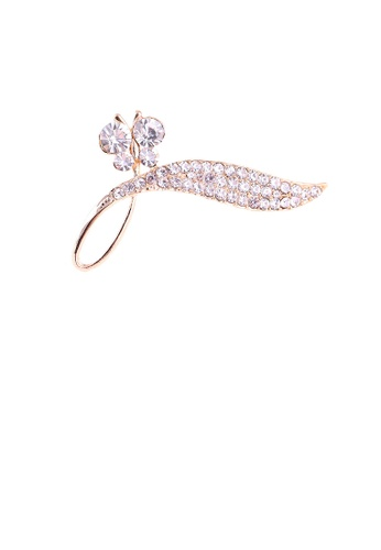 Glamorousky white Bright and Elegant Plated Gold Butterfly Leaf Brooch with Cubic Zirconia 44C60AC7221D00GS_1