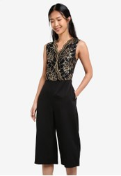 ZALORA black and gold Placement Lace Pieced Culotte Jumpsuit 290DBAA293DFAEGS_1