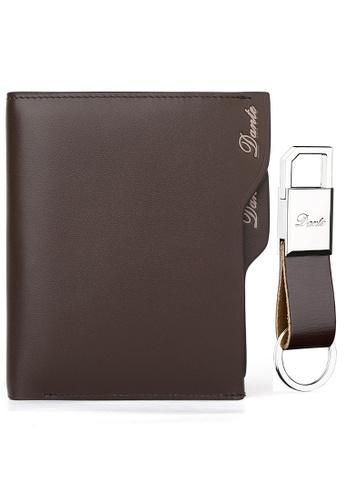 Jackbox brown [FREE Key Chain] Dante Premium Leather Scrub Surface Vertical Men's Wallet 855 (Brown) JA762AC18QSBMY_1
