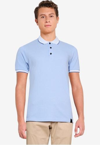 UniqTee blue Polo Shirt with Collar and Cuff 36DEDAAB8D873EGS_1