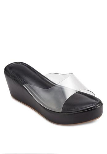 透明esprit香港門市帶楔型跟涼鞋, 女鞋, 鞋