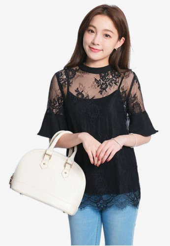 Yoco black Lace Blouse With Camisole Tank A284AAA9C5A685GS_1