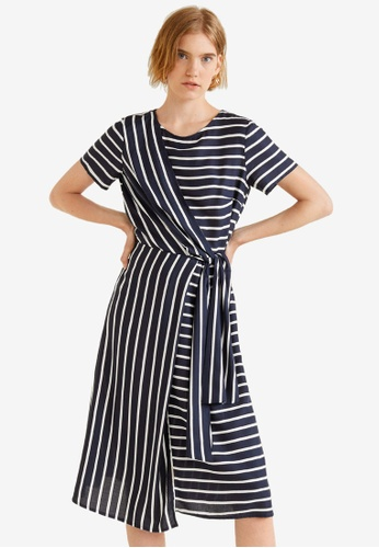 Mango blue and navy Striped Bow Dress 35E89AAE97D729GS_1