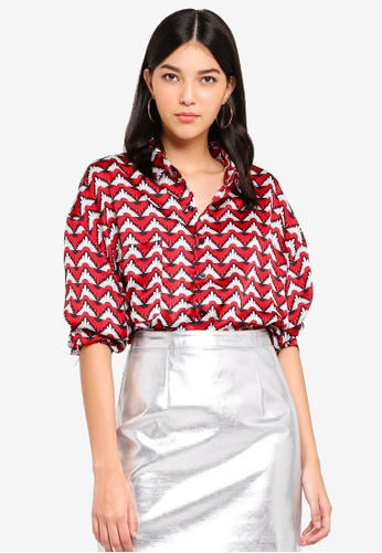 MISSGUIDED red Geo Printed Oversized Shirt 50797AA5C01FF9GS_1