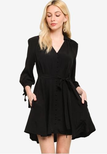 French Connection black Bita Drape Dress AC091AA0045044GS_1