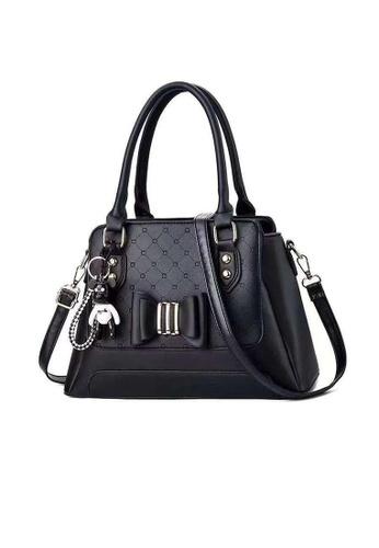 Lara black Business Women's Bowknot Decorated Leather Hand Bag Shoulder Bag - Black 0A202AC6D914CBGS_1