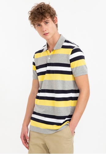 Bossini grey Short Sleeve Striped Polo Shirt 2E09BAAC688540GS_1