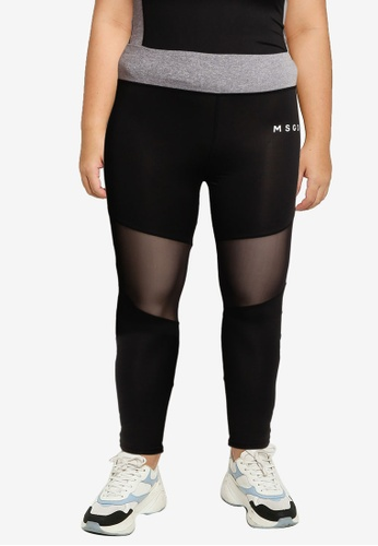 MISSGUIDED black Plus Size Active Panel Leggings 28DDDAAC41837CGS_1