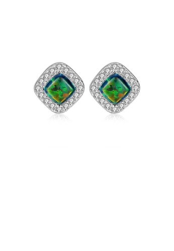 Glamorousky white 925 Sterling Silver Simple Bright Geometric Diamond Green Imitation Opal Stud Earrings with Cubic Zirconia F05E7AC5662800GS_1