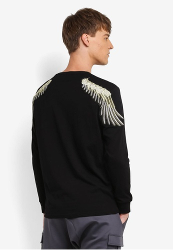 Flesh IMP black Sided Wings Long Sleeve Sweatshirt FL064AA0RNAAMY_1