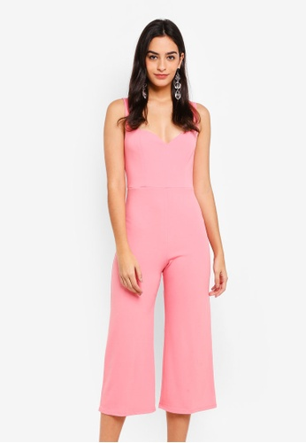 Miss Selfridge pink Pink Sweetheart Neck Jumpsuit E2856AACB9D54BGS_1