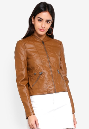 Vero Moda brown Europe Favo Faux Leather Jacket A29E8AABA7D6D2GS_1