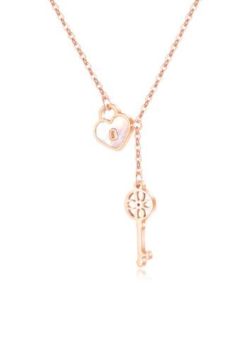 CELOVIS gold CELOVIS - Promise Heart Lock Pendant Necklace in Rose Gold DACF6ACED5E463GS_1
