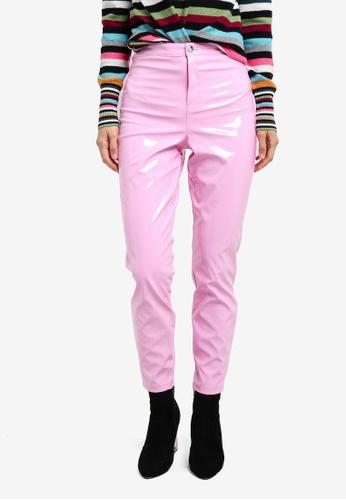 Miss Selfridge pink Pink Vinyl Steffi Trousers MI665AA0S2LDMY_1