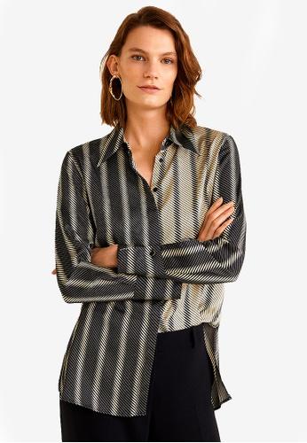 Mango black Satin Striped Shirt 42B37AA9A88002GS_1