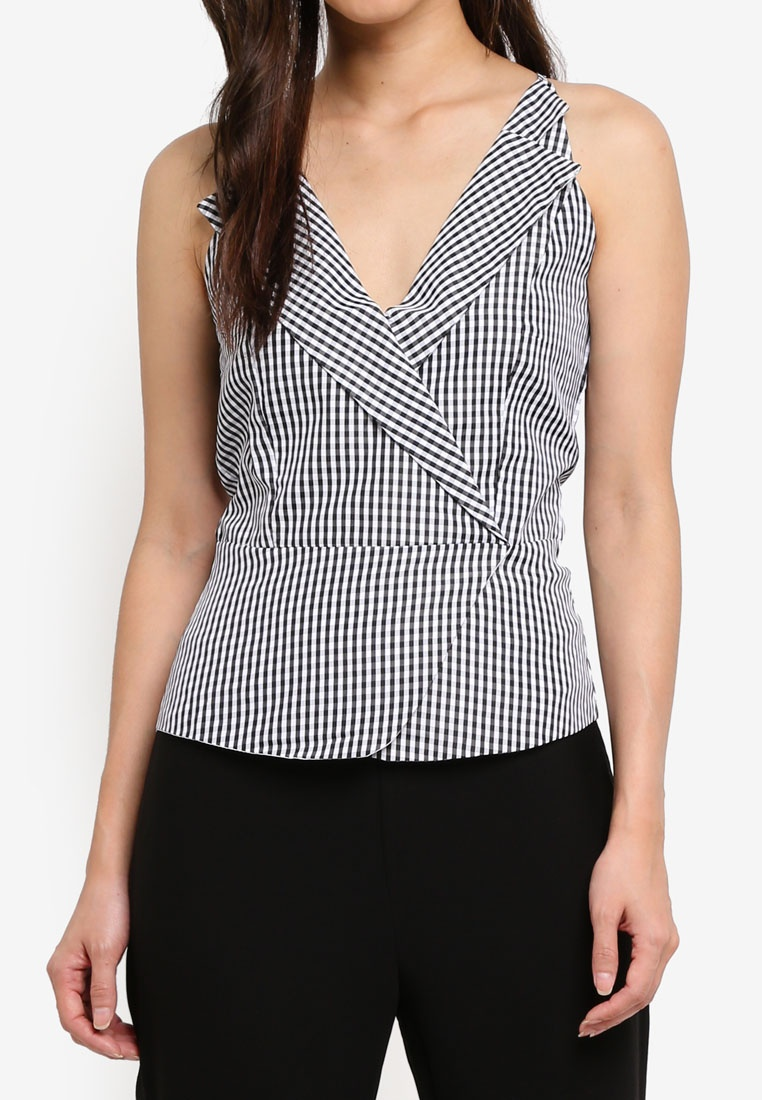 Vest Gingham MDSCollections In Gingham Peplum Black Black Cami zrqdrX