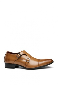 816c098a3843 Kings Collection brown Double Buckle Brown Marlon Monk Strap Shoes  9563DSHD00186AGS 1